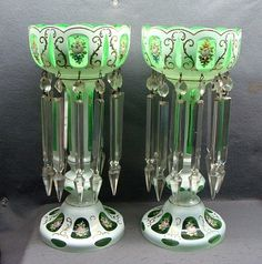 "Large Pair Of Bohemian Czech White Cut To Green Mantle Lustres 14"" Tall"