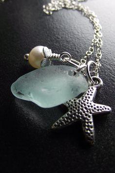 Sea Glass Jewelry  Aqua Sea Glass Cluster by SeaFindDesigns