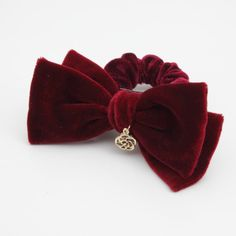 Burgundy velvet bow hair scrunchies