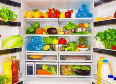 Open fridge full of fresh fruits and vegetables, healthy food background, organic nutrition, health care, dieting concept - stock photo Fee Du Logis, Used Tea Bags, Alka Seltzer, Fridge Organization, Food Backgrounds, Fresh Fruits And Vegetables, 500 Calories, Natural Home Remedies, Nutrition Tips