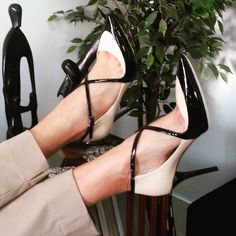 Have a wonderful Monday!  These #nude and #black multipurpose wearable #JIMMYCHOO #Madera #crisscross #pointedtoe #pumps are BRAND NEW with no box. Size 37 1/2.  The original retail price is $757 including tax, we sell them for $349.99!