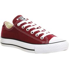 Converse All Star Low ($60) ❤ liked on Polyvore featuring shoes, sneakers, converse, sapatos, trainers, maroon canvas, unisex sports, sports shoes, low profile sneakers and low top sneakers