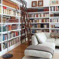 Corner shelves and a ladder