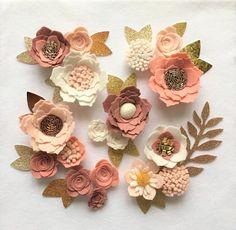 Pink/peach/cream felt 3d flowers/roses & leaves. Felt flower crown, flower headbands, flower garland, baby headband, felt posie, hand made by cutzbothways on Etsy