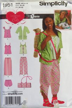 Simplicity 1951 Girls' and Misses' Top, Pants or Shorts, Kimono and Pillow Cover with Shoulder Strap