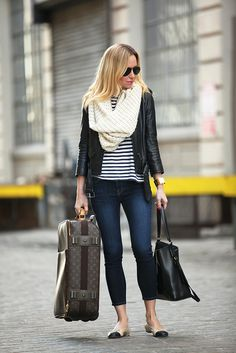 Suitcase via LXR & Co | Jeans: Joie | Tee: T by Alexander Wang | Leather Jacket: H & M | Flats: Chanel | Handbag: Ralph Lauren | Scarf: H & M | Cuff: Hermes | Lips: Nars Babydoll | Aviators: Ray-Ban