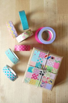 Washi Tape Gift Wrapping / Washi Tape para envolturas About the nice things: Nice Packaging: Patchwork de Washi Tape Pretty Packaging, Gift Packaging, Packaging Ideas, Washi Tape Crafts, Washi Tapes, Masking Tape, Duct Tape, Creative Gift Wrapping, Wrapping Presents