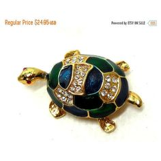 CLEARANCE SALE Vintage Turtle Brooch Blue Green Enamel Rhinestones... ($17) ❤ liked on Polyvore featuring jewelry, brooches, turtle brooch, rhinestone brooches, rhinestone jewelry, green brooch and vintage jewelry