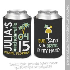 bachelorette party  / bachelor party can coolies, koozies coozies for wedding bachelor parties beach palm tree