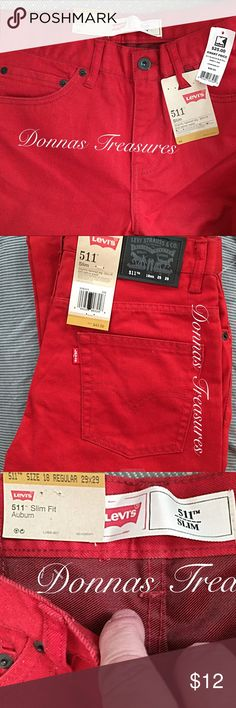 📓Ladies Authentic Levi's 511 Slim Fit Jeans These pants are brand new, never worn. The color is Auburn Red. Size 18 Regular W29XL29. They have a slightly tapered leg and are slim fit, designed to sit below the waist.  There are 3 front pockets & 2 back pockets. A great look for Anytime! Levi's Jeans Straight Leg