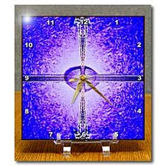 Purple Backdrop with pink in the middle and various shapes on top Desk Clock