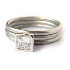 Platinum and square diamond ring (plr14)