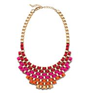 """mark Weave It To Me Necklace Wake up wintertime's go-to darks and denim with this unique piece! Ribbons of red, pink, orange and yellow create a rainbow of options, outfit-wise. Shiny goldtone box chain with grosgrain ribbon. 18 1/2"""" L (plus 3 1/2"""" extender)"""