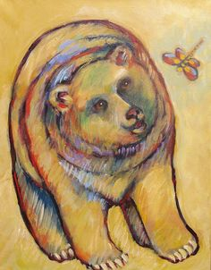 Dragonfly Paintings - Bear and Dragonfly by Carol Suzanne Niebuhr