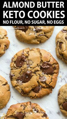 keto cookie recipes 3 Ingredient Flourless Almond Butter Cookies Recipe made with NO eggs, NO peanut butter and NO sugar- Keto and low carb cookies ready in 12 minutes! Almond Butter Keto, Almond Butter Cookie Recipe, Recipes With Almond Butter, Almond Cookies, Flourless Chocolate Chip Cookies, Coconut Flour Recipes, Gluten Free Chocolate, Vegan Butter, Vegan Chocolate