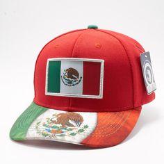 8671e9590e6 FBA56 Pit Bull Flag Print Snapback Mexico Flag  Red . Mexico FlagHat ...