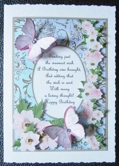 Card Gallery - Butterflies with Gems, Dogwoods and Poem 6  Card made by Davina Rundle.