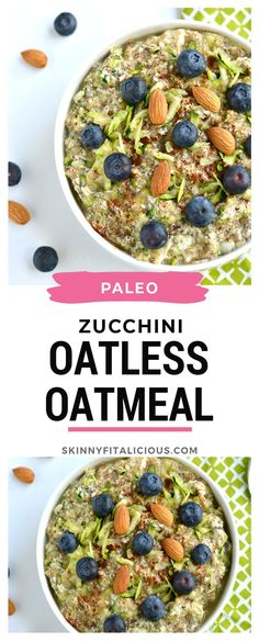 Zucchini Oatless Oatmeal is a Paleo low carb twist on oatmeal that's high protein and delicious! Zucchini Oatless Oatmeal is a Paleo low carb twist on oatmeal that's high protein and delicious! Low Calorie Breakfast, Healthy Low Calorie Meals, Healthy Vegan Breakfast, Delicious Breakfast Recipes, Low Calorie Recipes, Paleo Recipes, Healthy Zucchini, Paleo Overnight Oats, Paleo Oats