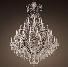 "19th C. Rococo Iron & Clear Crystal Round Chandelier 60"" | Restoration Hardware"