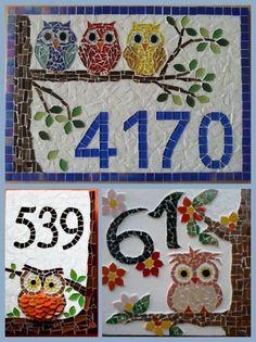 27 idéias bonitas para o número da casa do mosaico - numero de calle - Owl Mosaic, Butterfly Mosaic, Mosaic Tile Art, Mosaic Artwork, Mosaic Flowers, Mirror Mosaic, Mosaic Diy, Mosaic Crafts, Mosaics