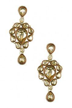Purab Paschim by Ankit Khullar Gold Plated Golden Shadow Swarovski Crystals Earrings #happyshopping #shopnow #ppus