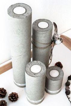 The best DIY projects & DIY ideas and tutorials: sewing, paper craft, DIY. Diy Candles Ideas Adventsstage - lavet i plastikrør -Read Cement Art, Concrete Cement, Concrete Crafts, Concrete Projects, Concrete Design, Diy Décoration, Easy Diy, Diy Lampe, Beton Design