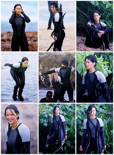 Jennifer Lawerance as Katniss Everdeen in Catching Fire :)