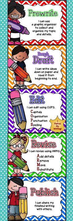 These cute Writing Process Posters are part of the Writer's Office Kit.