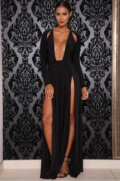 884db18880 Deep V-neck Split Long Sleeve Long Evening Dress - Meet Yours Fashion - 2
