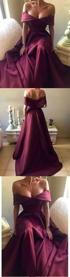 Simple Burgundy Off Shoulder Long Satin Prom Dress
