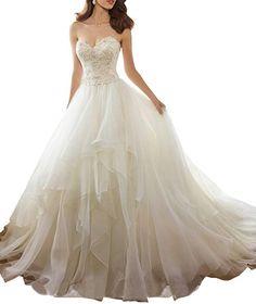 9eaffa600903 Nicefashion Women's Beading Lace Back Corset Organza Ruffles Wedding  Dresses Bride Gown Plus Size Ivory US22W