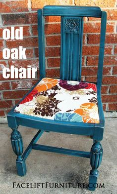 """Idea for one of the """"outdoor"""" chairs...Peacock Blue Old Oak Chair ~ From Facelift Furniture's DIY Blog"""