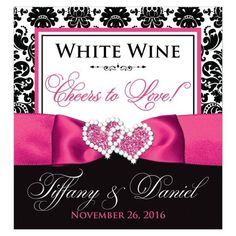 Personalized Wedding Beverage Label - Cheers to Love! | Black and White Damask | PRINTED Pink Ribbon | Joined Hearts
