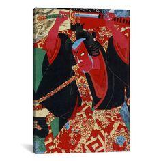 iCanvas Japanese Samurai Painted Woodblock Painting Print on Canvas
