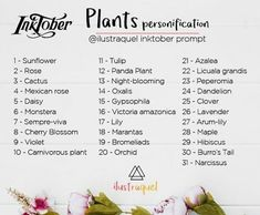 Inktober Plants Personification prompts list – This prompt list is by ! Drawing Ideas List, Drawing Tips, Drawing Drawing, Drawing Stuff, Realistic Drawings, Cute Drawings, Inktober, 30 Day Drawing Challenge, Oc Challenge
