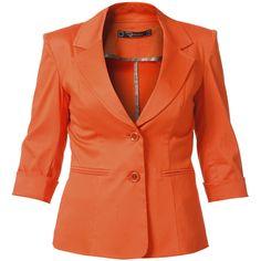 RAXEVSKY TASHA Orange Tailored Blazer ($98) ❤ liked on Polyvore featuring outerwear, jackets, blazers, coats, tops, red blazer, tailored blazer, orange jacket, single breasted jacket and orange blazer