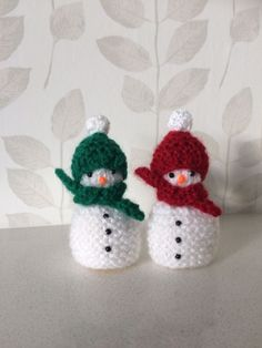 Excited to share the latest addition to my #etsy shop: Hand knitted Christmas snowmen covers for ferrero rocher chocolate x 2 red/green