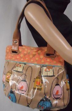 Fossil Key Per Birdcage Tote/Handbag/Purse & Matching Clutch/Wallet Lot Retired