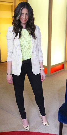 Floral Blazer by Topshop, Yellow Lace Top by Zara, Black Trousers by Helmut Lang #WNTW