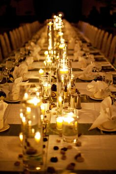 Looking for a fresh idea other than traditional round tables?  Why not use long banquet tables and create a family style seating instead!  Venue: Grand Ballrooms  Decor: Weddings and Events Designed by Sylvain (W.E.D.S)