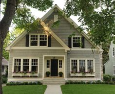 shake siding, colors, trim, window boxes, six-over-one windows
