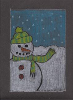 Cropped Snowman - 2nd grade.  Students learned how to crop a subject to make it more interesting and used white crayon on black paper to make the snowman.