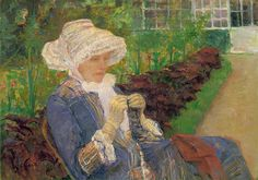 cassat painting, woman crocheting by spiden001, via Flickr