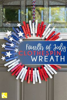 Go grab the supplies to make this super easy DIY clothespin wreath just in time for the of July! Go grab the supplies to make this super easy DIY clothespin wreath just in time for the of July! Fourth Of July Decor, 4th Of July Decorations, July 4th, 4th Of July Wreaths, Fourth Of July Crafts For Kids, 4th July Crafts, Happy Fourth Of July, 4th Of July Party, Birthday Decorations