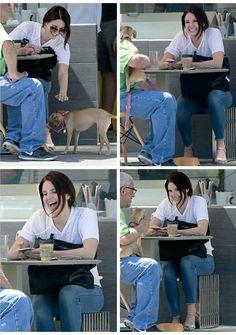 Lana Del Rey in Santa Monica #LDR  [aww she's so cute.. i react the same way when I see a dog!]
