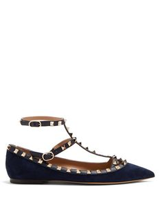 VALENTINO | Rockstud suede flats #Shoes #Flats #VALENTINO