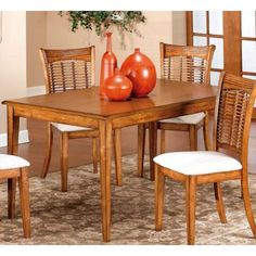 Hillsdale Furniture Bayberry Rectangle Dining Set in Oak Oak Dining Room Set, Furniture Dining Table, Dining Table In Kitchen, Dining Sets, Dining Tables, Wood Tables, Furniture Plans, Dining Rooms, Rectangle Dining Table