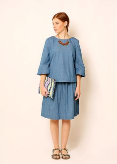 Blue Denim shirt – Modest top for women - Shirt with sleeves by TAMARLANDAU on Etsy