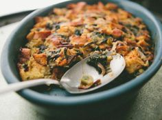 Kale and Shiitake Mushroom Bread Pudding - A Thought For Food