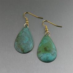 Apple Green Patinated Copper Tear Drop Earrings by johnsbrana, $35.00